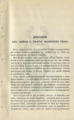 Discurso del señor D. Ramón Menéndez Pidal