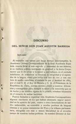 Discurso del señor don Juan Agustín Barriga