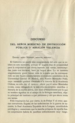 Discurso del señor Ministro de Instrucción Pública D. Absalón Valencia