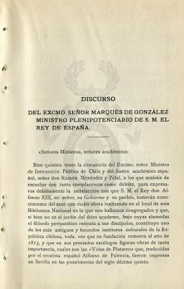 Discurso del excmo. señor marqués de González ministro plenipotenciario de S. M. el Rey de España