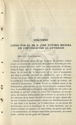 Discurso leído por el sr. José Toribio Medina en contestación al anterior