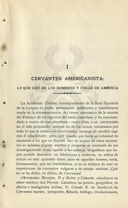 Cervantes americanista: lo que dijo de los hombres y cosas de América